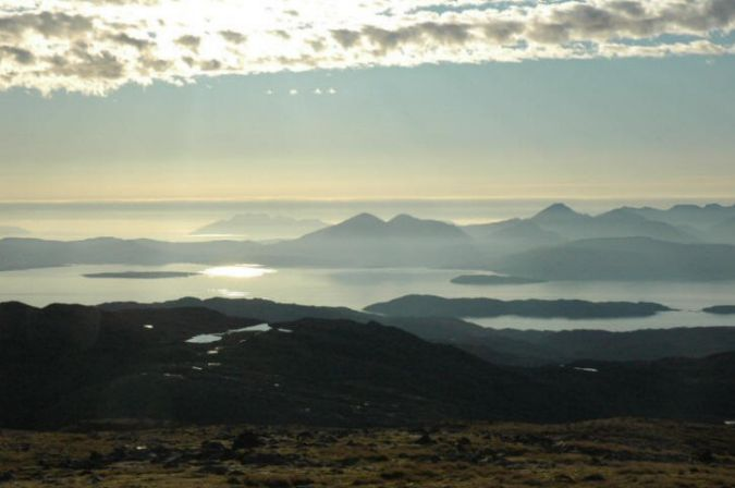 From the top of the Bealach na Ba there are spectacular views of the Cuillins on Skye.